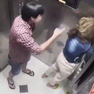 エレベーターの中で容赦なく女性をぶん殴る男がヤバすぎ…
