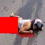 車との事故でそのまま引き摺られた女性の死体の下半身がグロいことに…