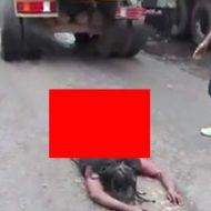 ダンプに轢かれた女性の無残な姿がこちら…