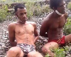 パンツ一枚で拘束された男二人は処刑で頭を撃ち抜かれてビクンビクン…