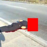 車に頭を潰され脳みそが飛び散っている男性の死体…