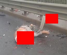 高速道路で事故に遭い首が吹っ飛んだ男性の姿…