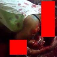 マチェーテで襲われ血の海の中で息絶えている女性のグロい死体