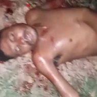 マチェーテで襲われ血を流しながら苦しむ男性