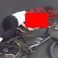 自転車の運転手が潰されて臓物を撒き散らしてる衝撃的な姿
