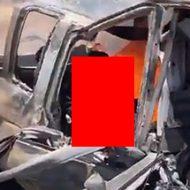 車の事故で逃げられずに燃えて炭と化した人間の姿がヤバい…