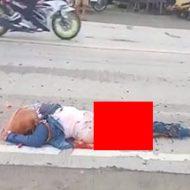 バイク運転手が大型トラックに轢き潰された悲惨な現場