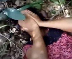 【無修正】インドの森の中で男たちに輪姦され涙目な女性が撮影される…
