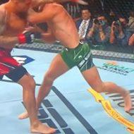 試合中にコナー・マクレガーの脛が折れる衝撃の瞬間…