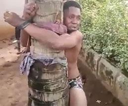 少年に淫らな行いをした男を木に拘束して拷問