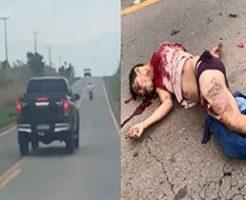 バイクがトラックに突っ込んで自滅する死亡事故