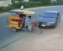 スピード違反の車に容赦なく突っ込まれる家族